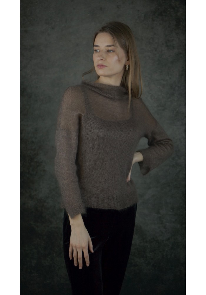Relaxed-Fit Open Back Silk Top in Brown Knitted Ribbon