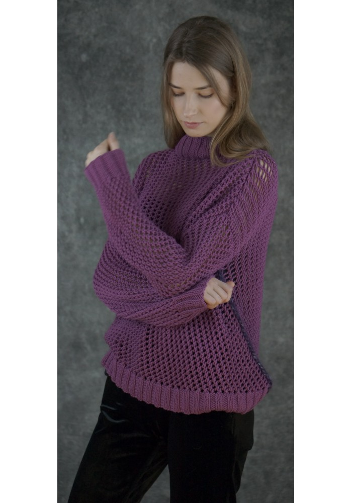 Open-Knit Oversized Cotton Sweater Knitted Ribbon