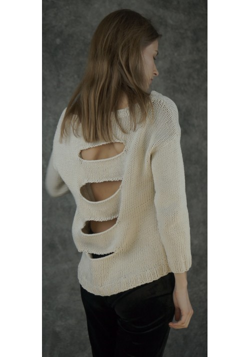 Back Slit Cotton Jumper  Knitted Ribbon