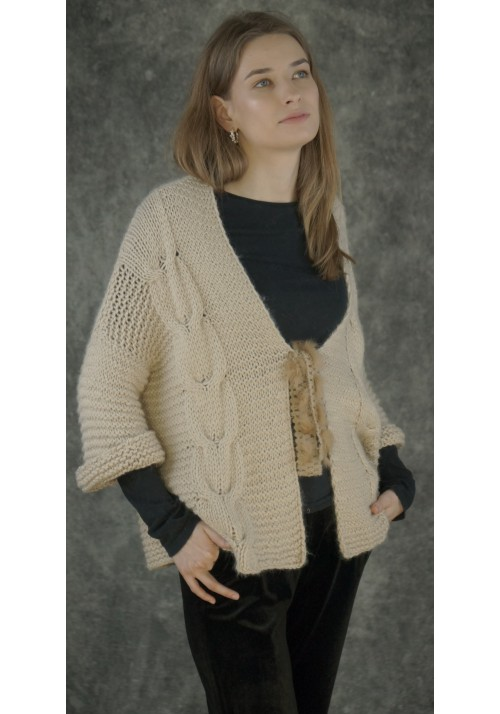 Cable Knit Baby Alpaca Cardigan Knitted Ribbon