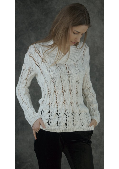 Open-Knit White Cotton Sweater with Cable Knitted Ribbon