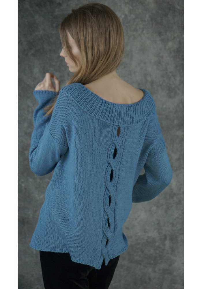 Cotton-Alpaca-Silk Cable- Knit Sweater Knitted Ribbon