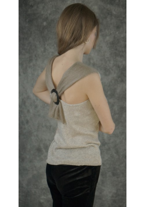 Open Back Sleeveless Top Blouse Tied Buckle Knitted Ribbon