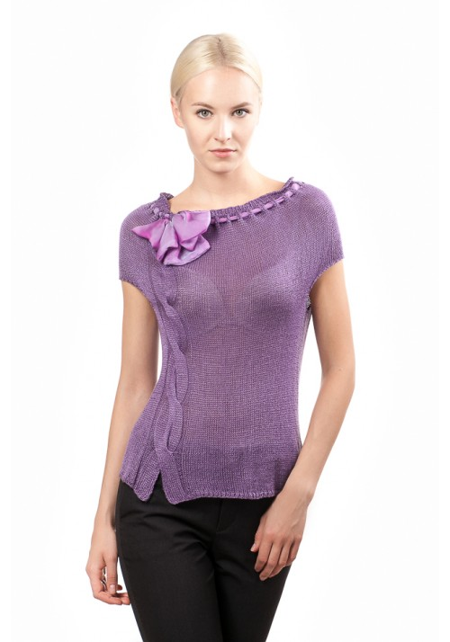 Violet silk top with ribbon
