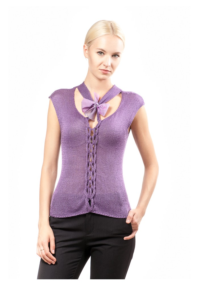 Violet silk top with small ribbon