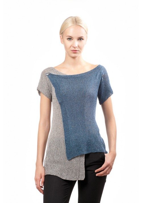 asymmetric two colours sweater