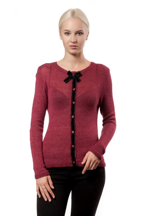 Red Mohair Sweater with Bow