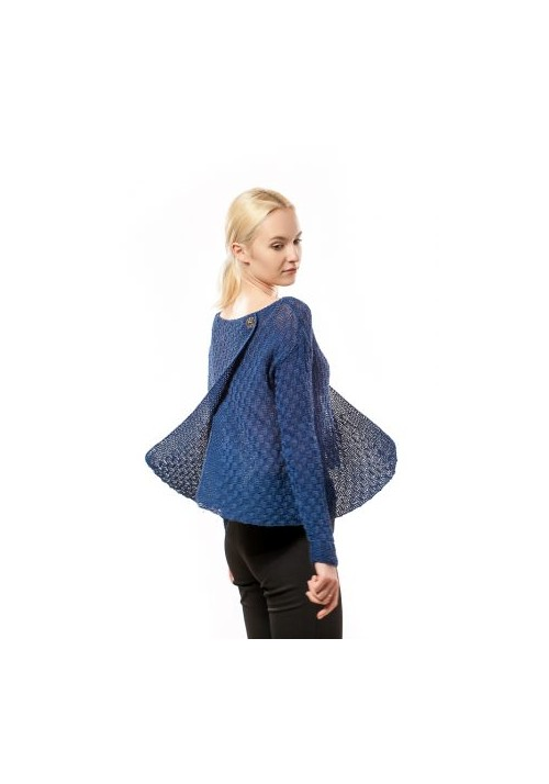 Hand knited blue long sleeves open front and back sweater