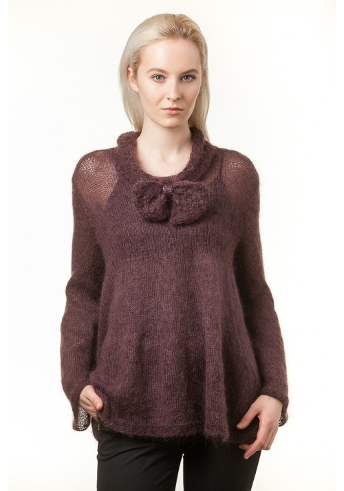Handmade knitted long sleeves brown mohair and wool sweater