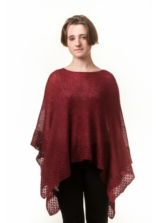 Handmade knitted red burgundy silk mohair oversized cardigan