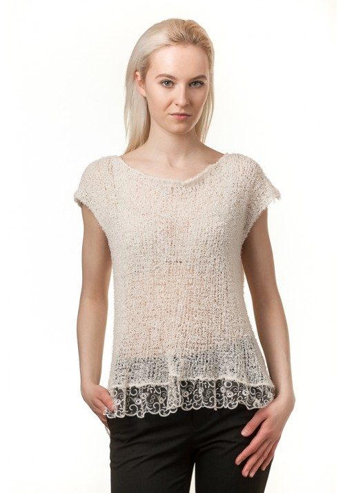 Handmade knitted short sleeves white blouse with lace and bow