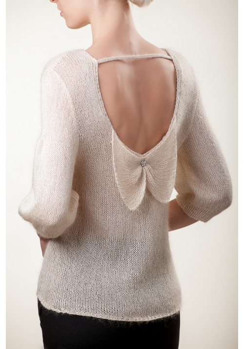 Open back sweater, White silk blouse, Mohair blouse, Pussy bow blouse, Mohair hand knit, Bow back sweater, Mohair sweater