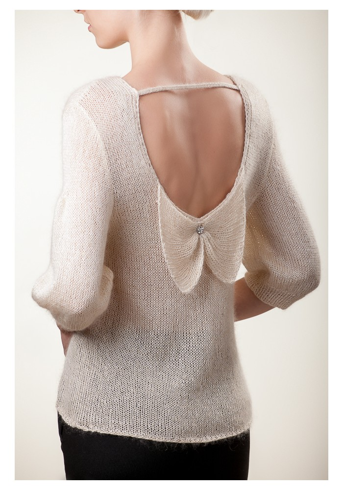 Handmade knitted short sleeves white silk mohair blouse with open back