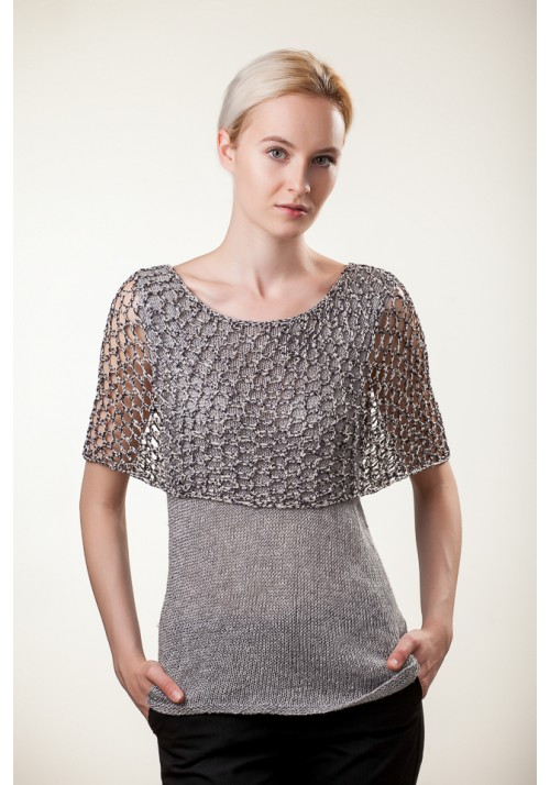 Handmade knitted short sleeves grey silk linen blouse