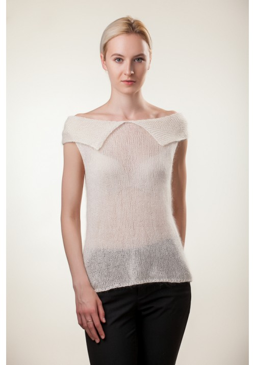 Handmade knitted sleeveless white open shoulder silk mohair blouse