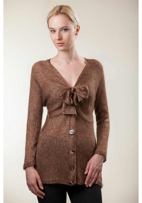 Handmade knitted brown long sleeves silk mohair sweater with bow cardigan