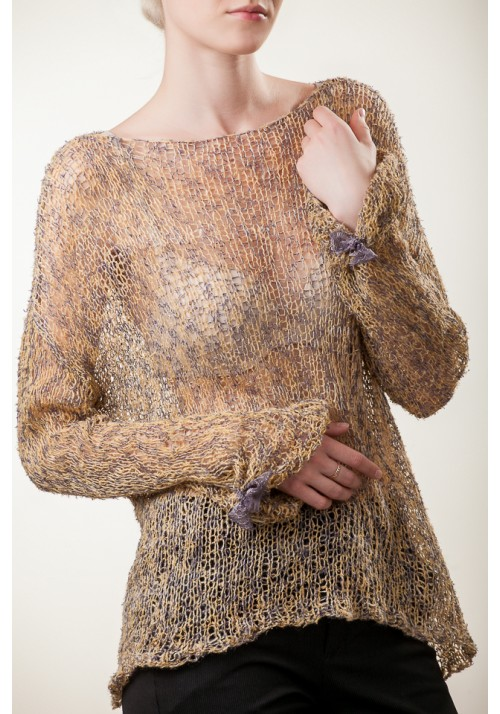 Handmade knitted yellow beige natural long sleeves silk wild silk linen sweater