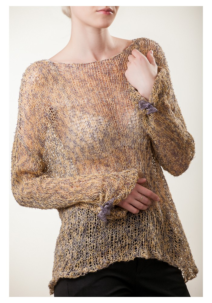 Relaxed Wild Silk and Linen Blend Sweater Knitted Ribbon