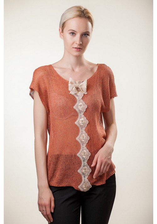 Handmade knitted orange sleeveless silk lace blouse