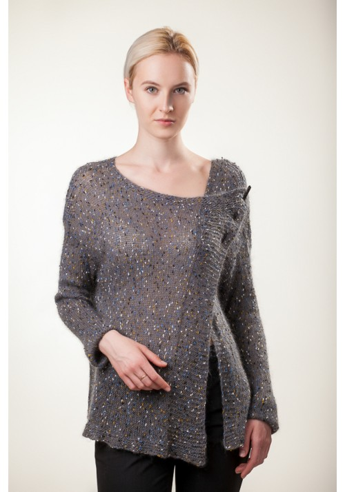 Handmade knitted grey long sleeve silk mohair wool sweater cardigan pullover