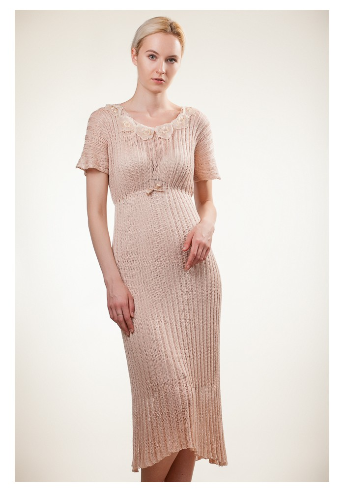 Beautiful Sleek Dress|Beige Dress|Knitted Dress|Midi Length Dress|Ivory Silk  DA72