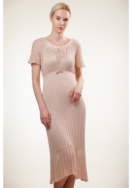 Beige Silk Midi Dress