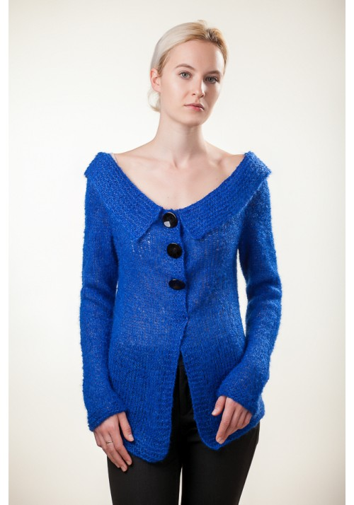 Bright blue long sleeves buttoned sweater cardigan