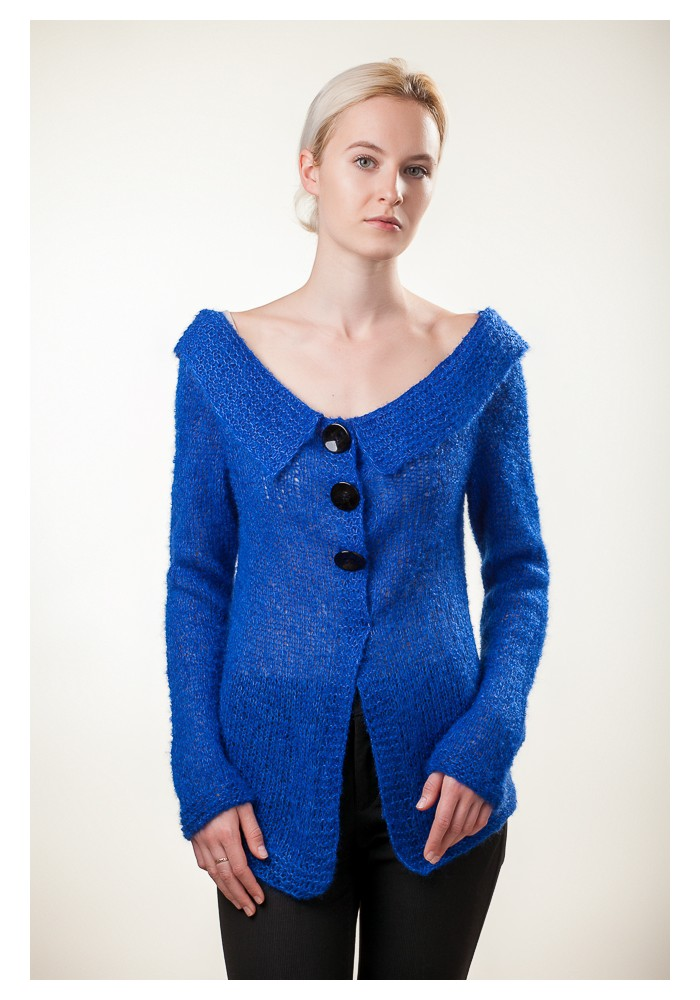 Handmade knitted bright blue long sleeves buttoned sweater cardigan