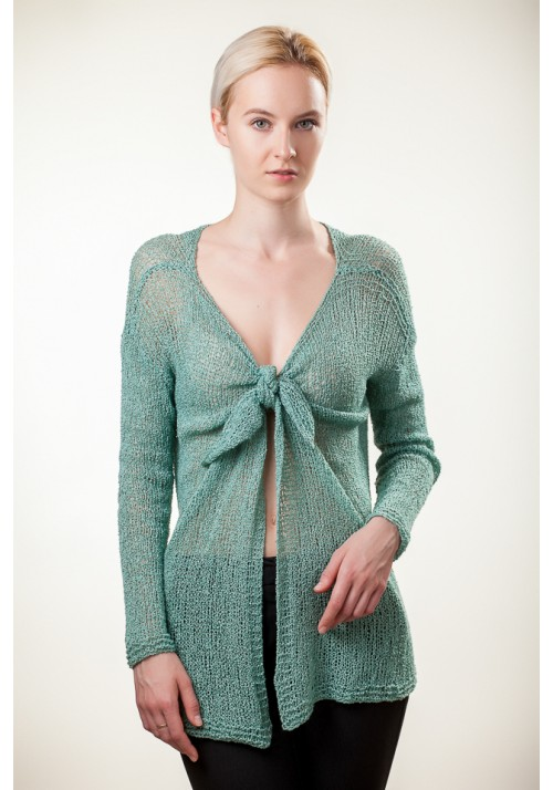 Handmade knitted light green long sleeves tied up open front cardigan