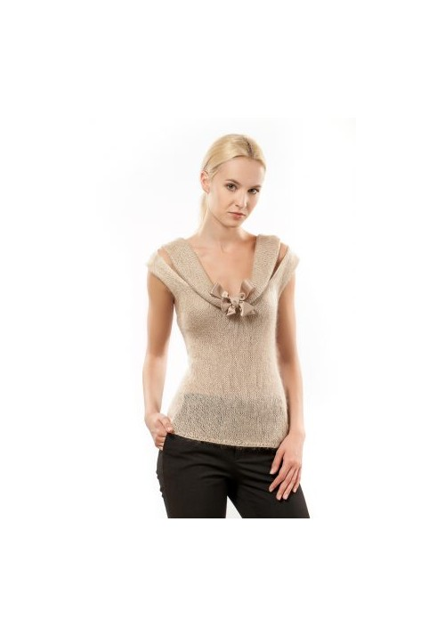 Knitted beige mohair silk blouse