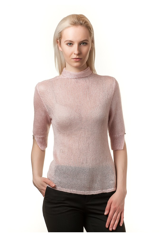 Handmade knitted pink short sleeves open front or back blouse