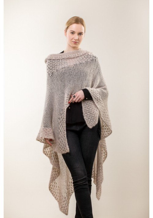 Hand knit beige sweater vest cardigan poncho