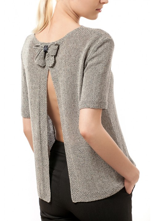 Open Back Grey Silk Sweater Knitted Ribbon