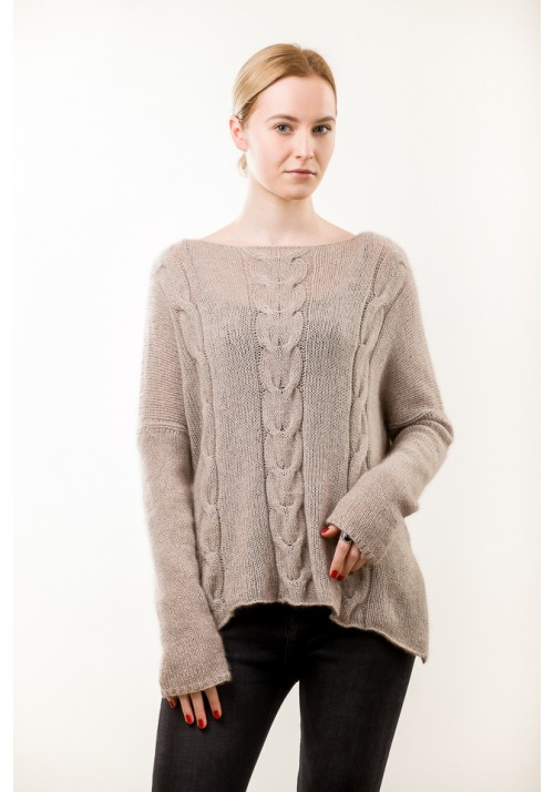 Hand knit beige cable cashmere sweater