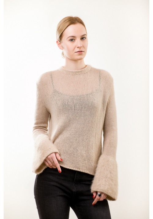 Cashmere sweater with brushed cashmere cuffs