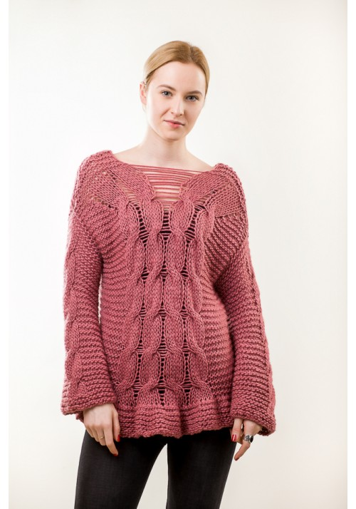 Hand Knit Pink Cable sweater  Knitted Rinnon
