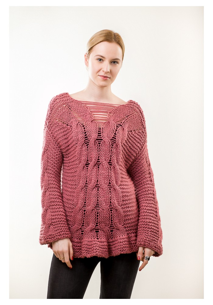 Hand knit pink cable sweater