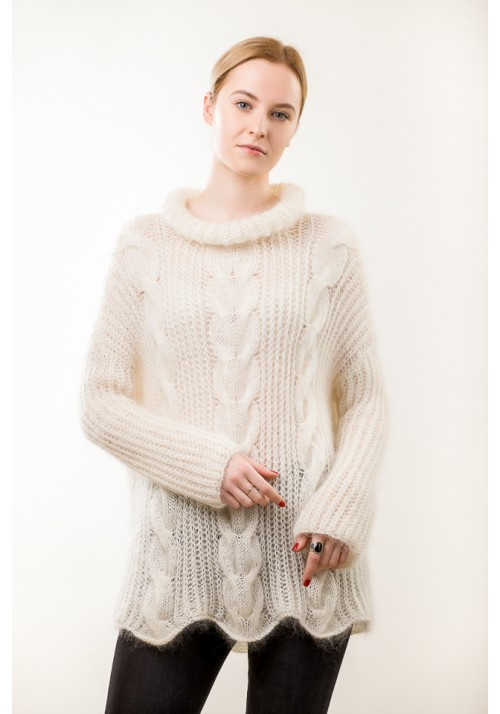 Chunky cable knit mohair and wool sweater