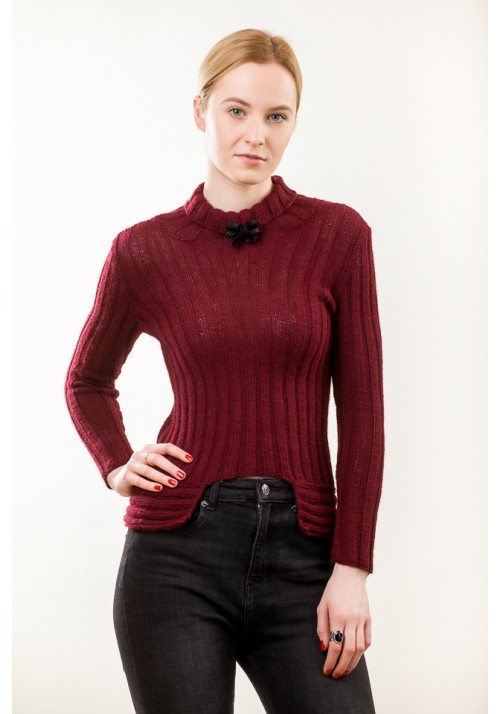 Handmade burgundy colour long sleeves sweater