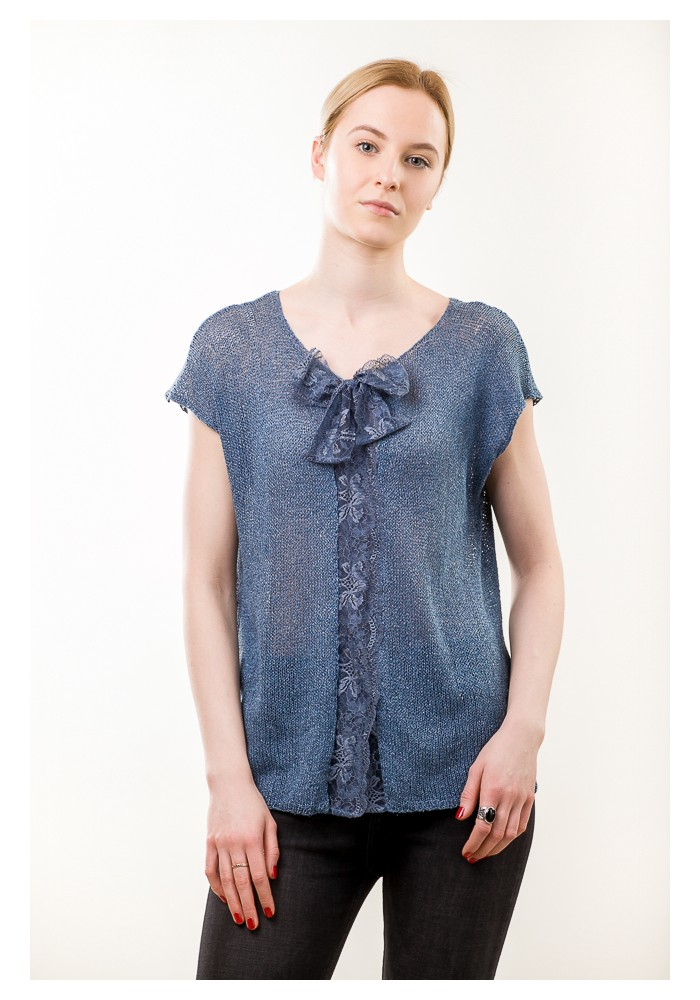 Pussy Bow Silk Blouse with Lace Knitted Ribbon