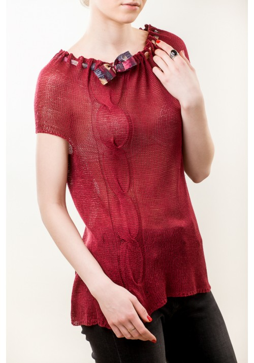 Hand knit red sleeveless silk blouse with bow
