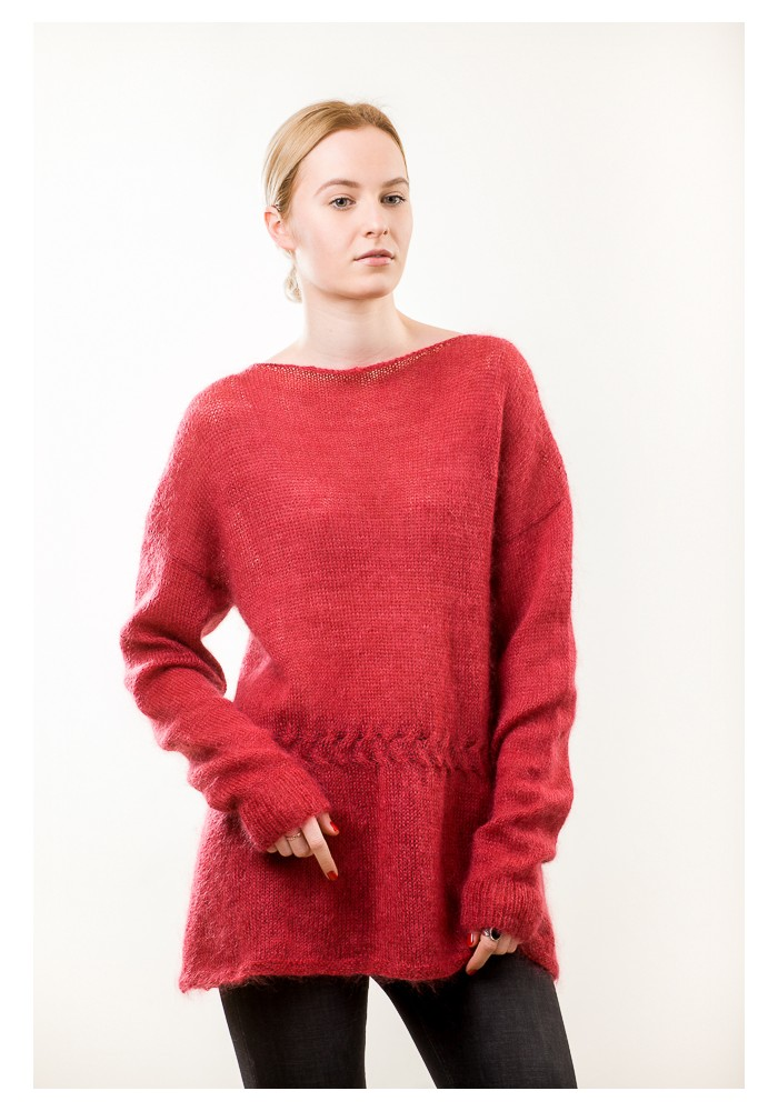 Hand knit red long sweater