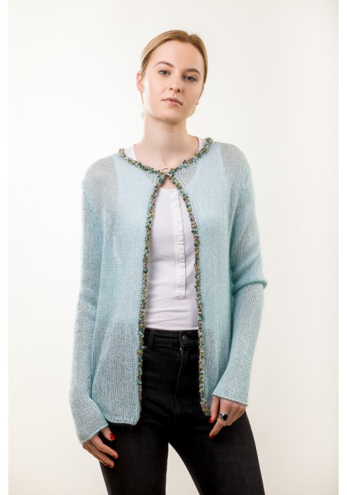 Hand knit turquoise open sweater