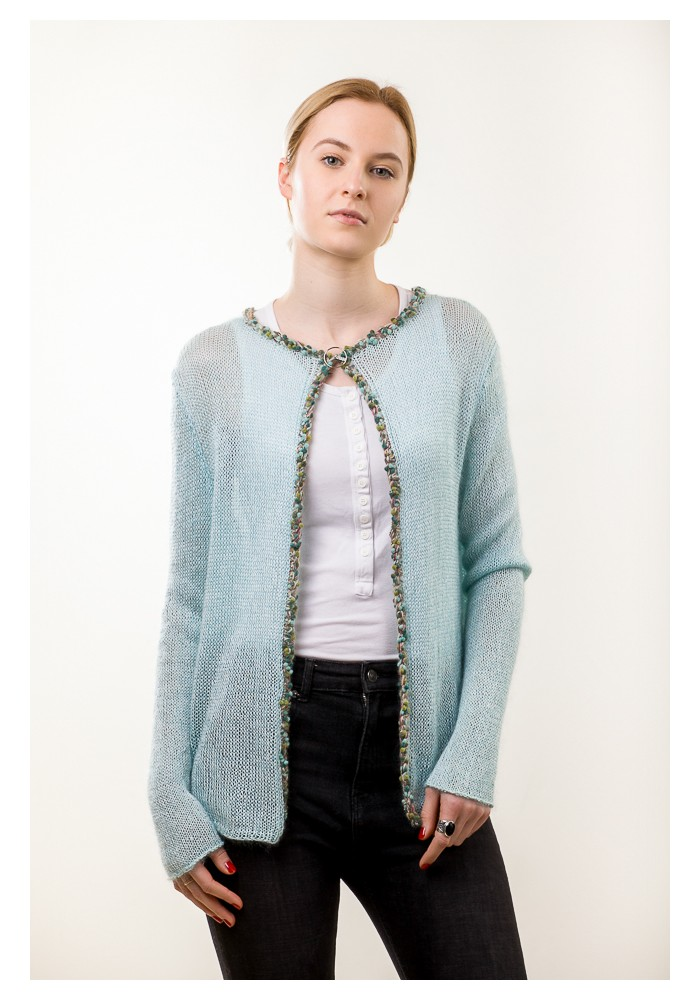 Embellished Silk Mohair Turquoise color Cardigan Knitted Ribbon