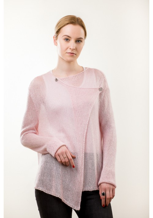 Mohair Silk Asymmetric Cardigan in Pink Knitted Ribbon