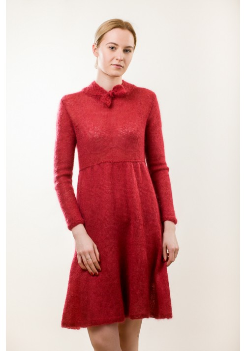 Red Wool and Mohair Blended Dress Knitted Ribbon