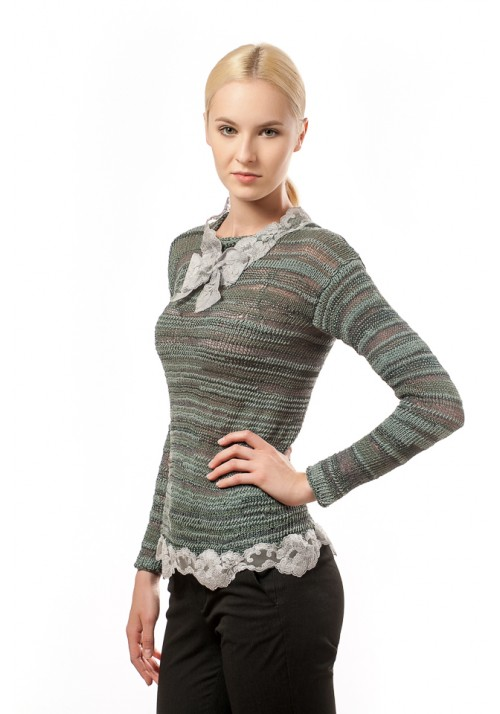 Knitted Ribbon Sweater with Guipure