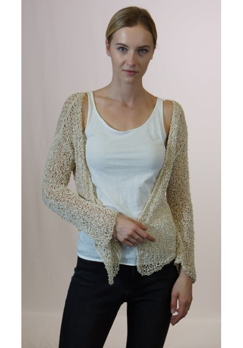 Open Knit Cotton Silk Blend Cardigan Knitted Ribbon