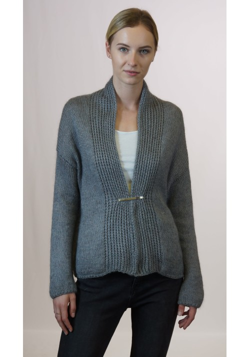 Gray Mohair Camel Wool Open Front Cardigan