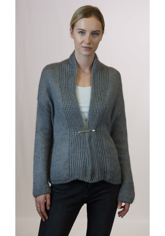 Open Front Camel Wool Cardigan Knitted Ribbon